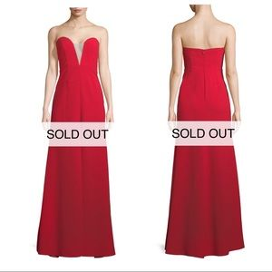 Strapless deep V red gown